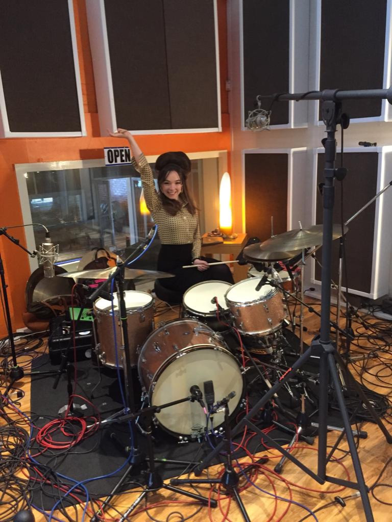 Emily Capell in the recording studio