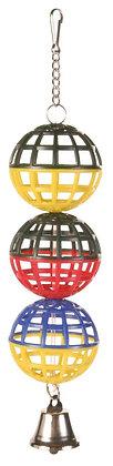 3er Gitterball mit Kette und Glocke