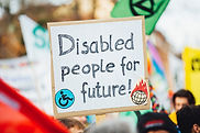 An image of a sign saying Disabled people for future!