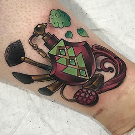 Sophie Lewis, Tattoo, Neo-traditional tattoo, art nouveau, colour tattoo, perfume bottl and makeup brushed at FLT Tattoo Studo Newcastle