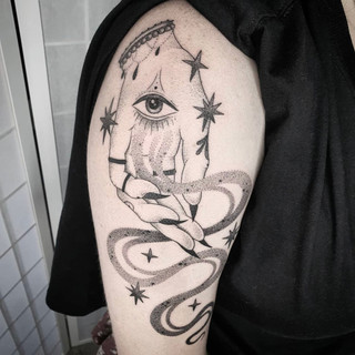 Occult hand tattoo by Siarn Engels
