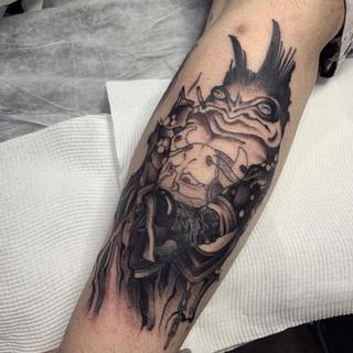 Punk Toad tattoo by Brooke Steele