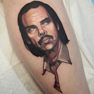 Nick Cave portrait tattoo by Sophie Lewis