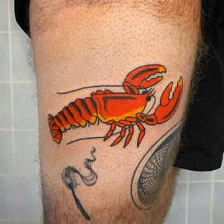 Lobster tattoo by Alana Tomlin