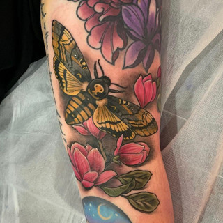 Moth and flowers tattoo by Sophie Lewis