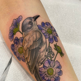 Shrikethrush bird and flower tattoo by Jade Lomax