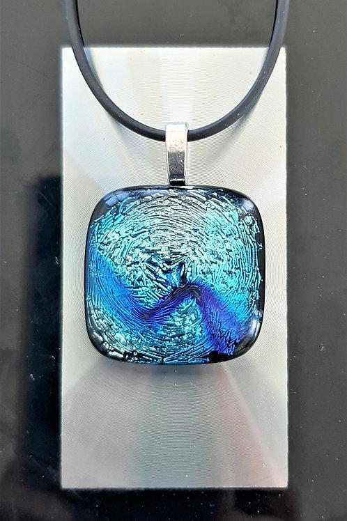 Fused Glass Pendant Silver/Aqua-blue, Blue, Black    1004