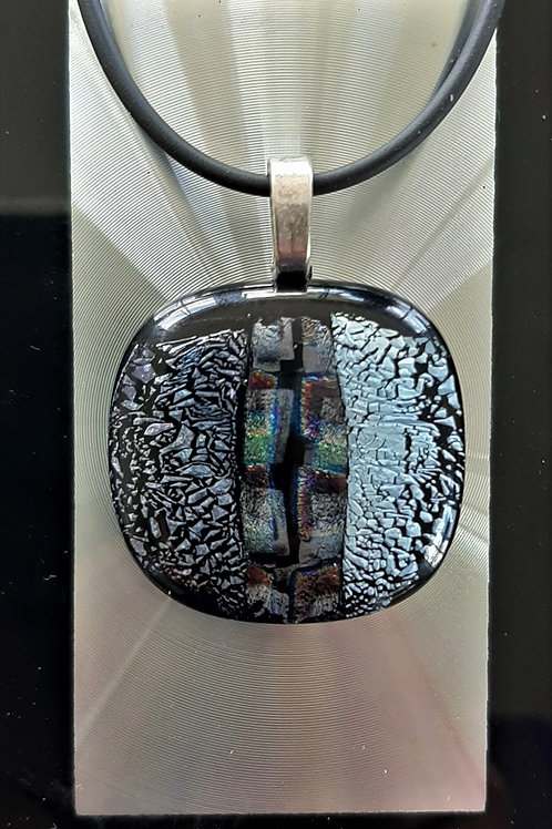 Fused Glass Pendant Green/Magenta Silver/Black      1011