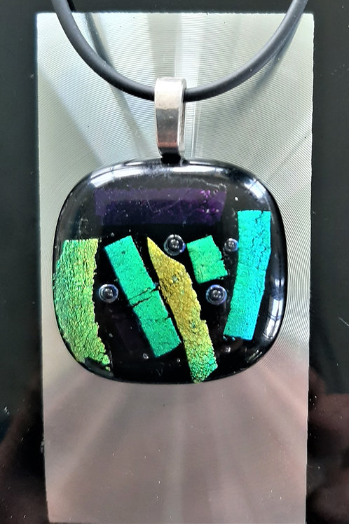 Fused Glass Pendant  Multi – Yellow Green Mint Purple/Black   1008