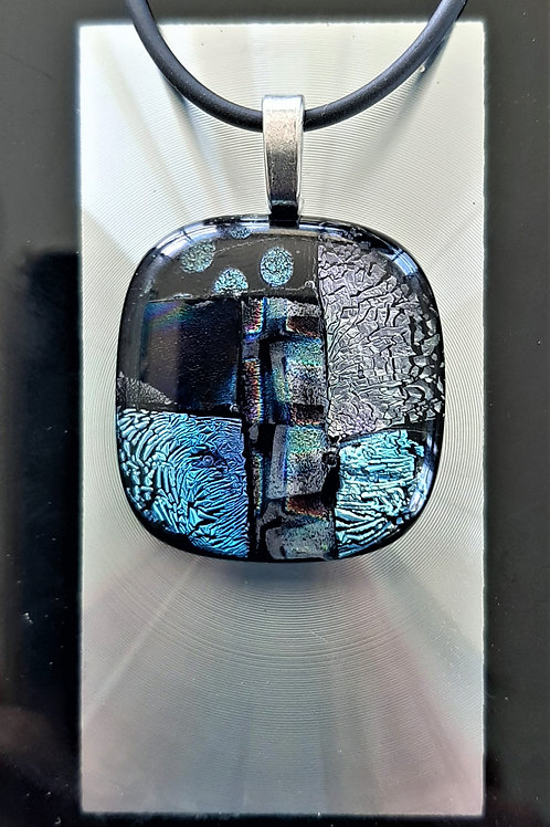 Fused Glass Pendant Silvery-blue Silver/Aqua Magenta Black     1010