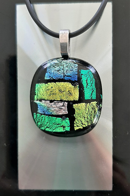 Fused Glass Pendant Multi – Yellow Green Pink  Blue Black   1007