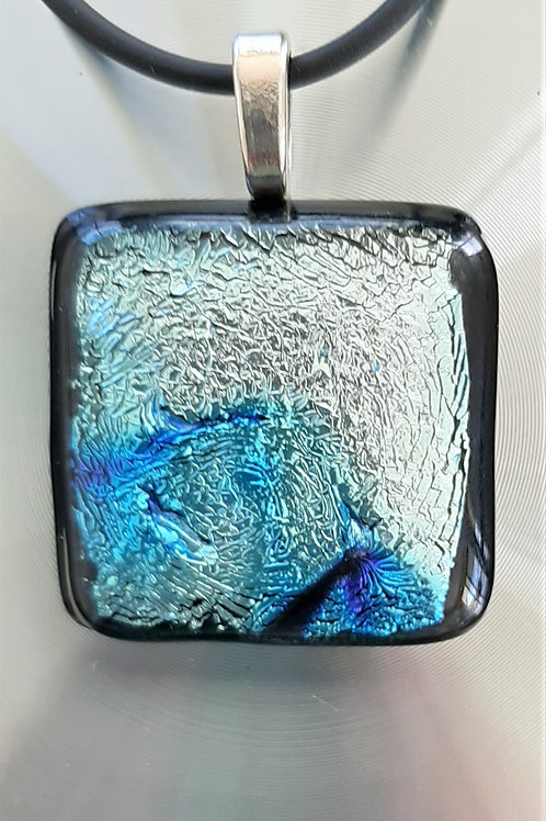 Fused Glass Pendant Silver/Aqua-Blue, Dark Blue, Black  1028