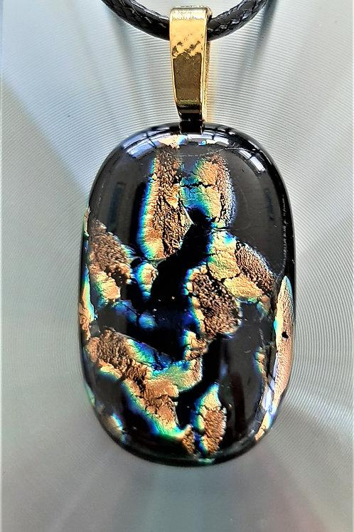 Fused Glass Pendant Copper/Orange/Yellow Gold/Black/Blue/Green  1020