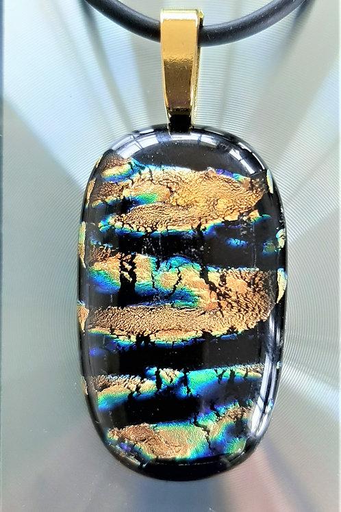 Glass Pendant Multi Copper Yellow Gold Orange Black Green Blue Purple  1016