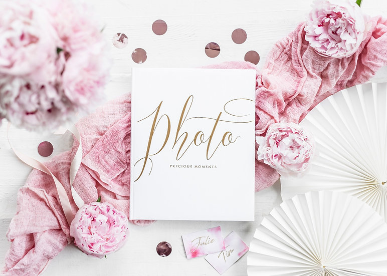 Libro de fotos y firmas blanco y dorado
