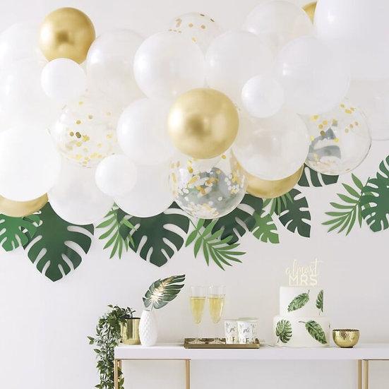 Arco globos blanco y dorado