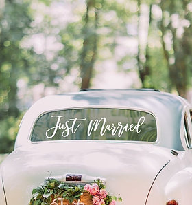 "Vinilo ""Just Married"" para coche de novios"