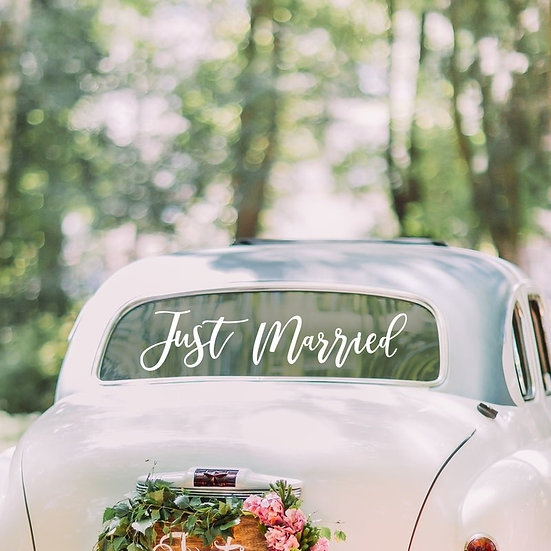 """Vinilo """"Just Married"""" para coche de novios"""