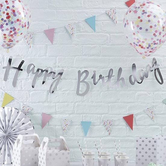 Guirnalda Happy Birthday Plata
