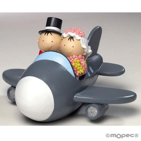 """Figura de pastel hucha """"Novios en avión"""""""