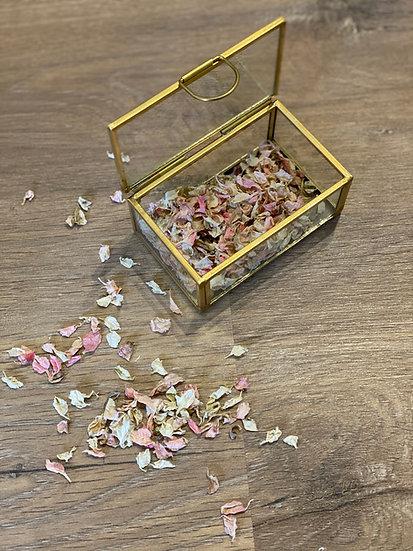 Caja porta alianzas con flor seca personalizada