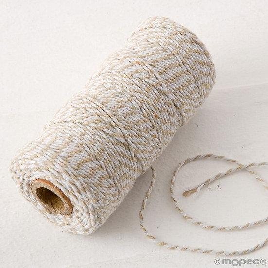 Cordón trenzado algodón 12hilos en beig y blanco