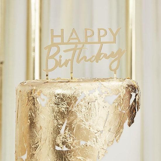 Cake Topper Happy Birthday Gold
