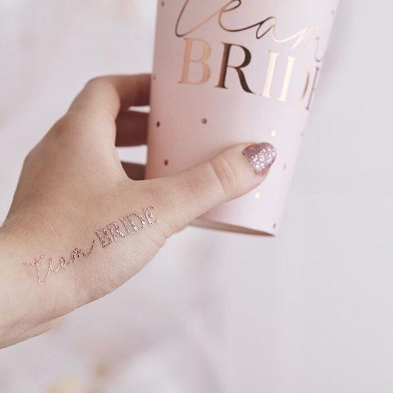 "Tattoo ""Team Bride"" oro rosa"