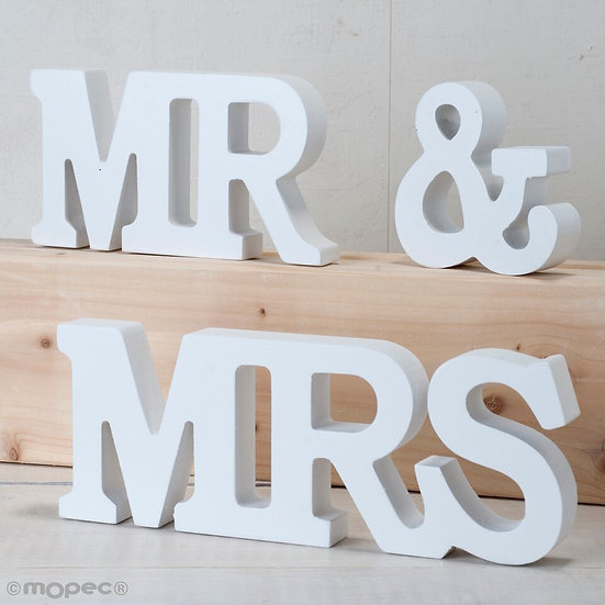"Set madera ""MR & MRS"" en blanco"