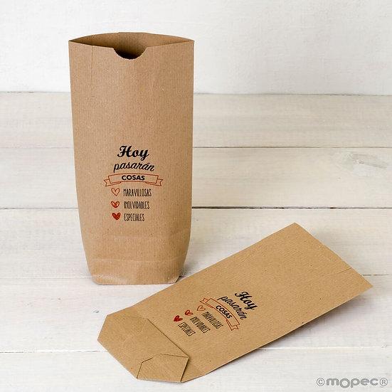 """Pack de 25 bolsas Kraft """"Hoy pasaran cosas..."""""""