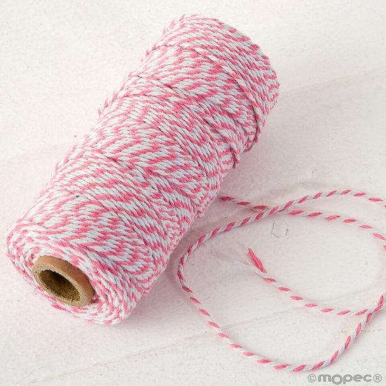 Cordón trenzado algodón 12hilos en rosa y blanco
