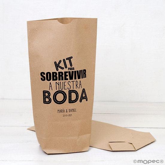 """Pack de 25 bolsas kraft """"Kit para sobrevivir..."""""""