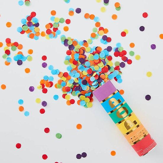Mini cañon de confeti de colores biodegradable