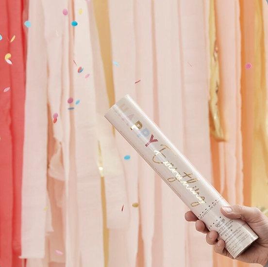 Cañon confeti redondo pastel biodegradable