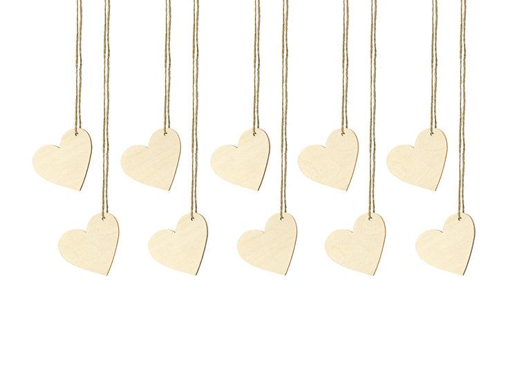 Marcasitios corazones de madera (Pack 10 unidades)