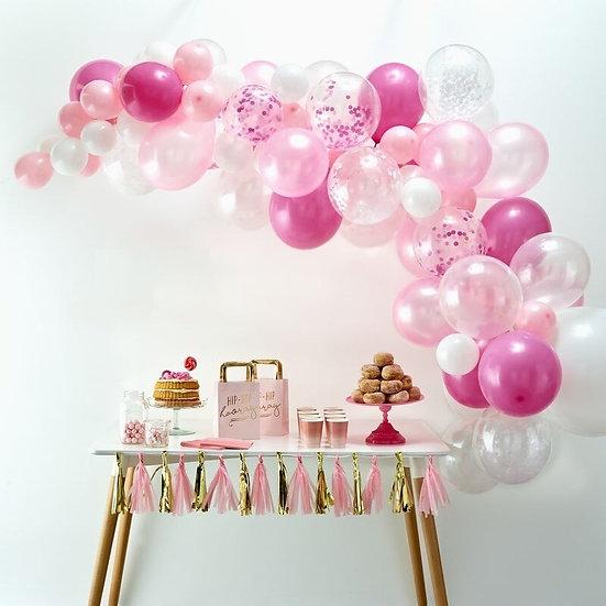 Arco de globos - Blanco y rosa