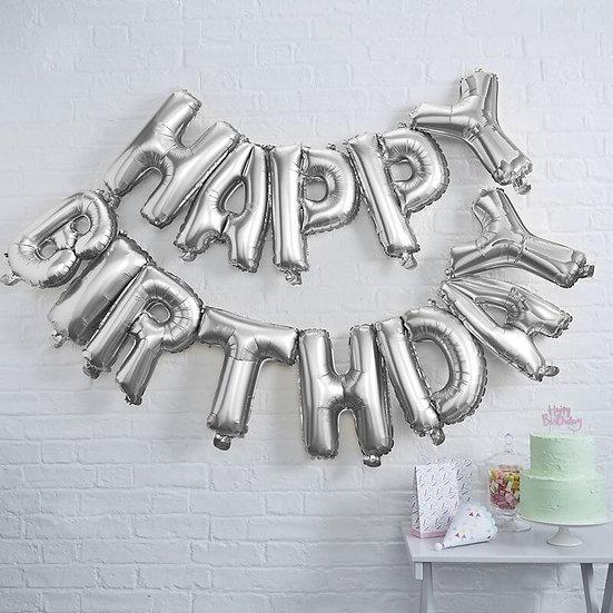 Globo Happy Birthday plata