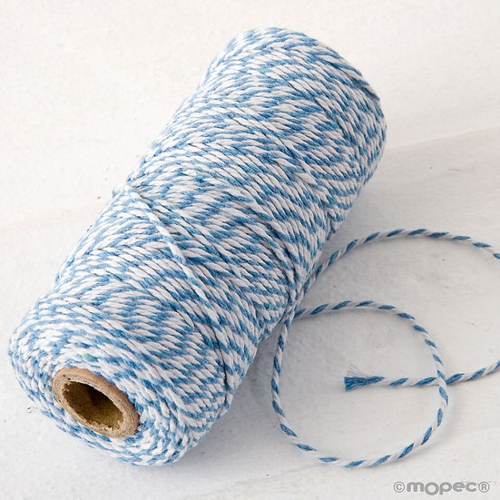 Cordón trenzado algodón 12hilos en azul y blanco