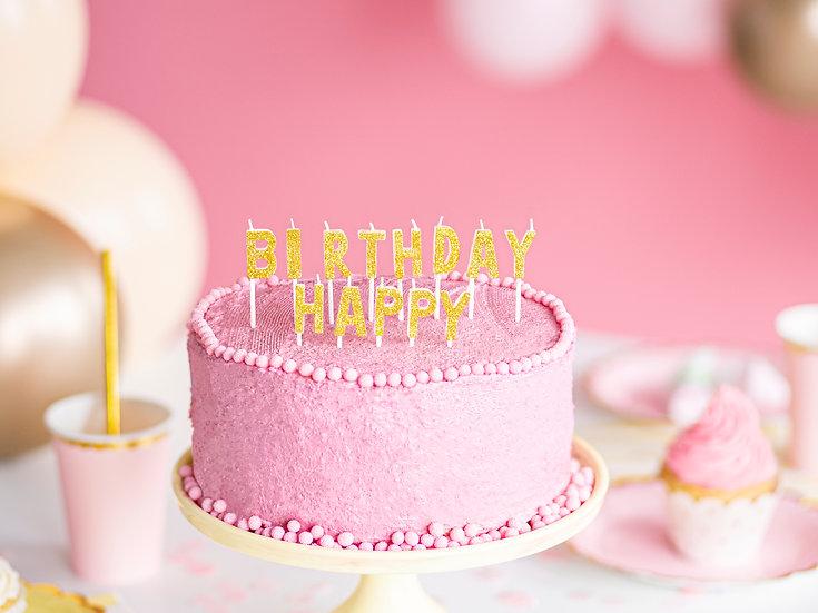 Velas Happy Birthday oro