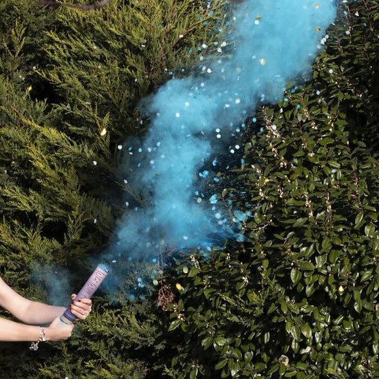 Cañon confeti y humo azul