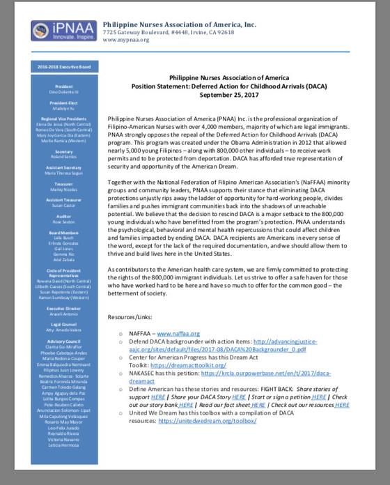 Philippine Nurses Association of America Position Statement: Deferred Action for Childhood Arrivals