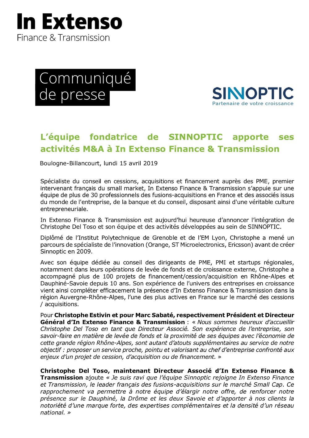 SINNOPTIC fête ses 10 ans et se rapproche d'In Extenso Finance et Transmission, le leader français de le fusion-acquisition sur le marché Small Cap.
