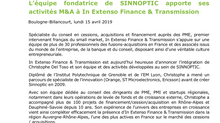 SINNOPTIC se marie avec In Extenso Finance et Transmission !