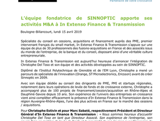 SINNOPTIC se marie avec In Extenso Finance et Transmission !