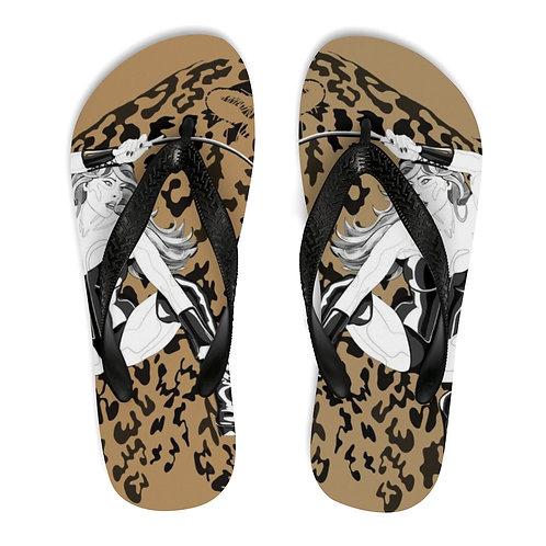 Phoenix the Jaguar Unisex Flip-Flops - tan