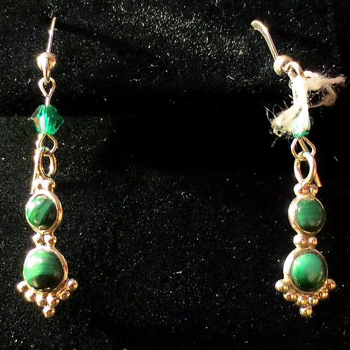 Sterling Silver & Malachite Earrings