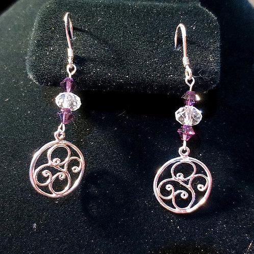 Purple Crystal & Sterling Silver Filigree
