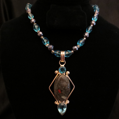 Sterling Silver Bloodstone & Topaz Necklace