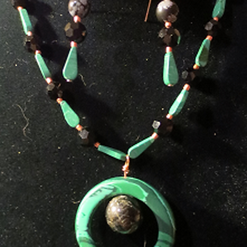 Malachite & Copper Ring Set