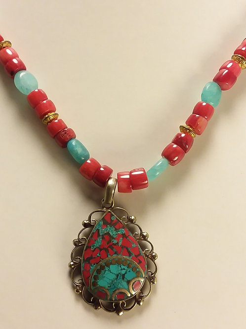 Nepalese Coral and Turquoise